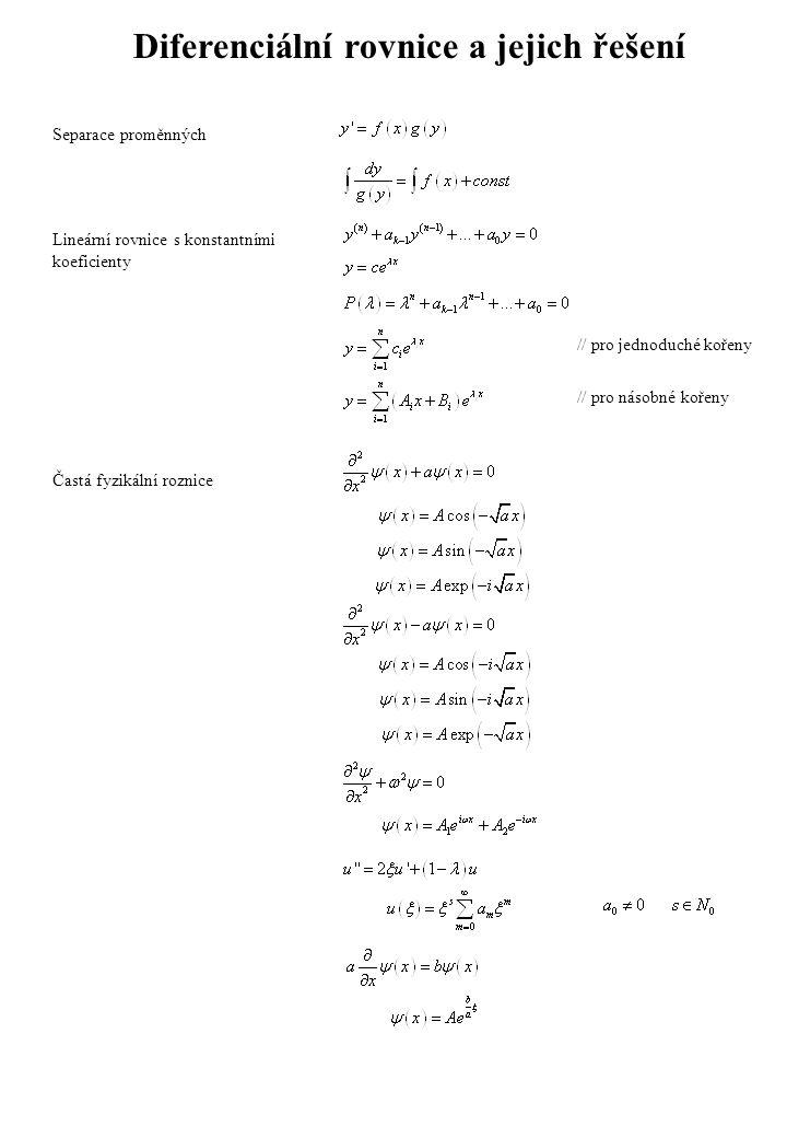 Fyzikální vzorce Plankův vzorec záření černého tělesa De Brogliova vlna Schrődingerova rovnice Kvantum energie fotonu Bornův postulát Relace neurčitosti pro libovolné samozdružené operátory, rovnost nasává pro operátory splňující: Relace neurčitosti pro polohu a hybnost Stacionární stav Časový vývoj stacionárního stavu Řešení SchR při nestacionární počáteční podmínce, pomocí ortn.
