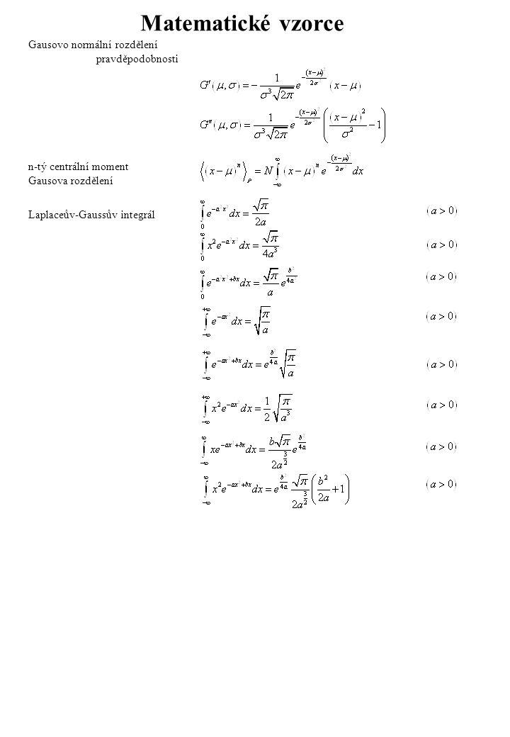 Binomický rozvoj Multinomický rozvoj Pravidla pro kombinační čísla Stirlingova formule Některé parciální rozklady Užitečná formulka