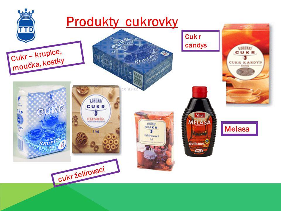 Produkty cukrovky Cuk r candys Cukr – krupice, moučka, kostky cukr želírovací Melasa