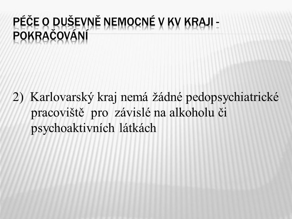 2) Karlovarský kraj nemá žádné pedopsychiatrické pracoviště pro závislé na alkoholu či psychoaktivních látkách
