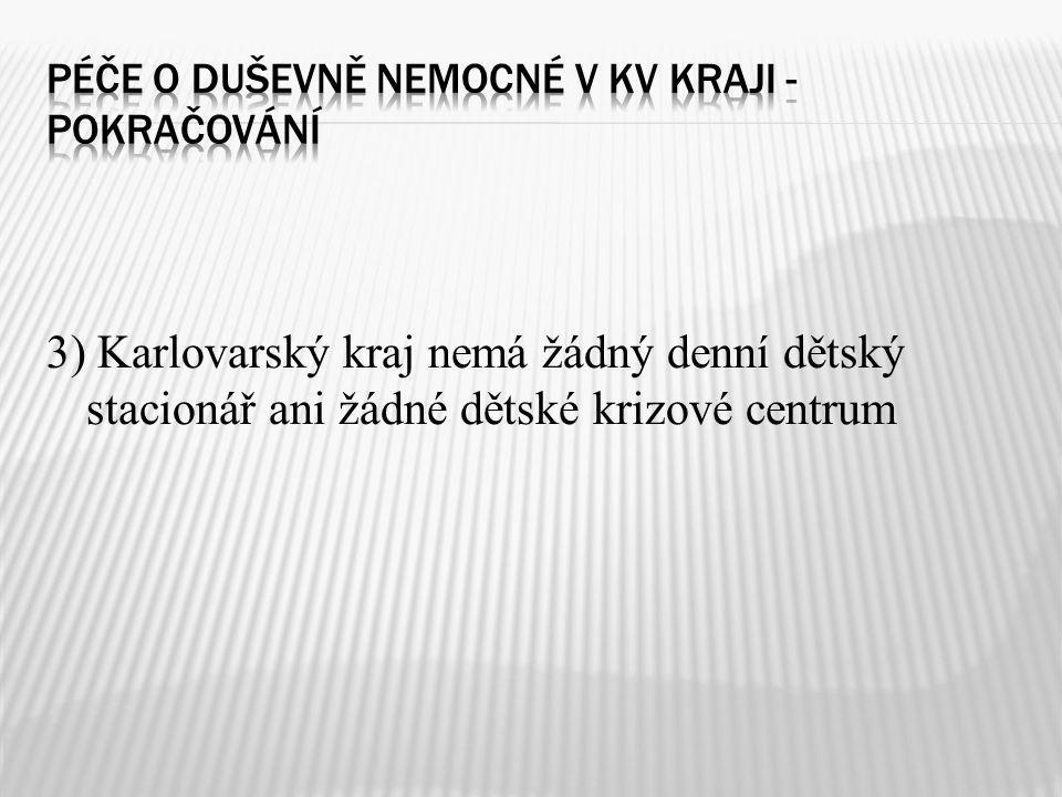 3) Karlovarský kraj nemá žádný denní dětský stacionář ani žádné dětské krizové centrum