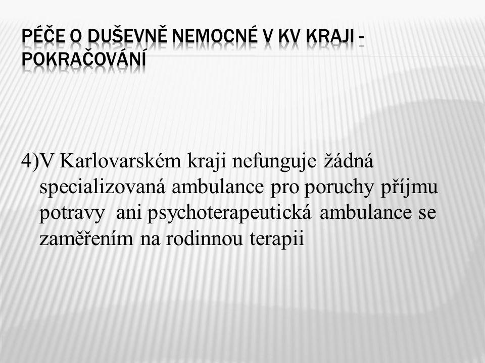 4)V Karlovarském kraji nefunguje žádná specializovaná ambulance pro poruchy příjmu potravy ani psychoterapeutická ambulance se zaměřením na rodinnou t