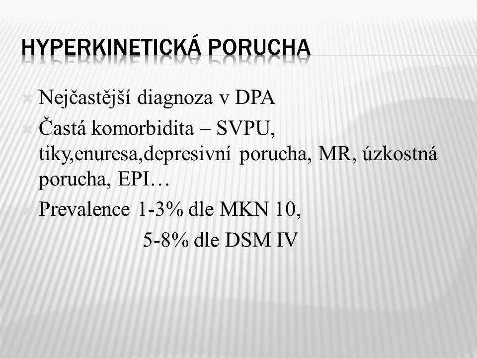  Nejčastější diagnoza v DPA  Častá komorbidita – SVPU, tiky,enuresa,depresivní porucha, MR, úzkostná porucha, EPI…  Prevalence 1-3% dle MKN 10, 5-8
