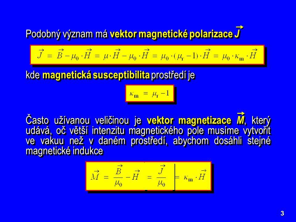 3 Podobný význam má vektor magnetické polarizace J kde magnetická susceptibilita prostředí je Často užívanou veličinou je vektor magnetizace M, který