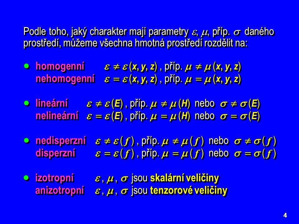 4 Podle toho, jaký charakter mají parametry , , příp.  daného prostředí, můžeme všechna hmotná prostředí rozdělit na:  homogenní    ( x, y, z )