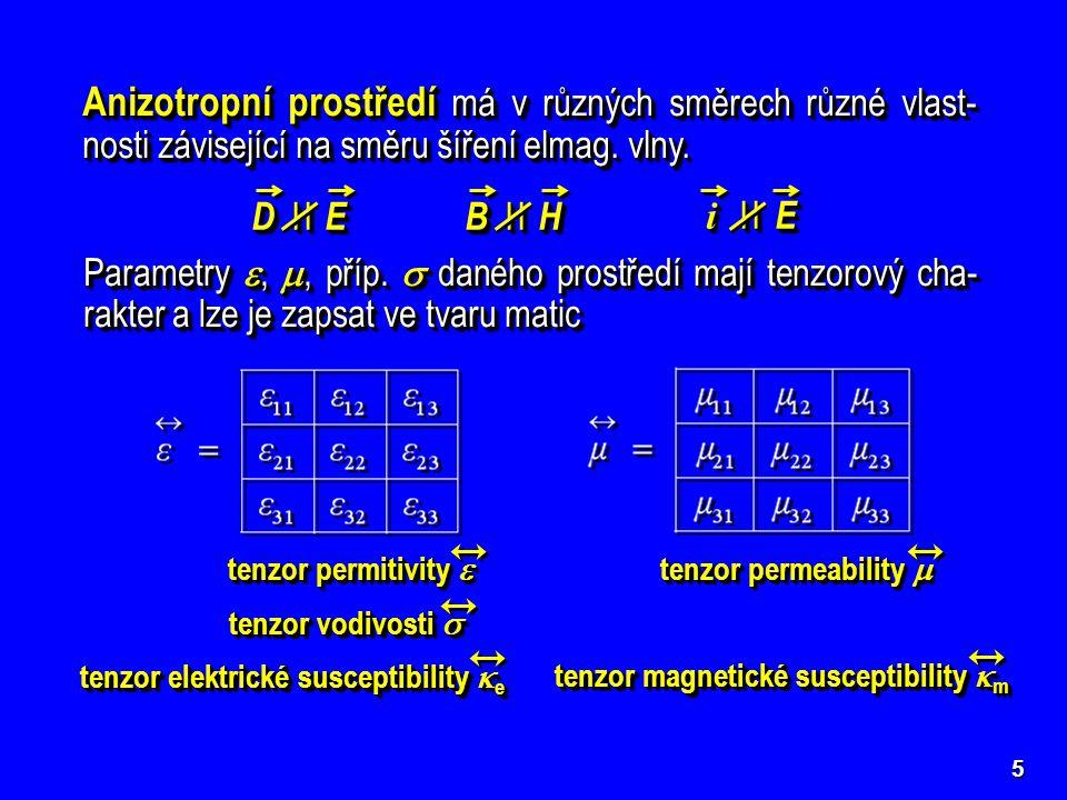 5 Izotropní prostředí má vlastnosti stejné ve všech směrech, tj. stejné pro všechny směry šíření elmag. vlny. D I I E B I I H i I I E i I I E Anizotro