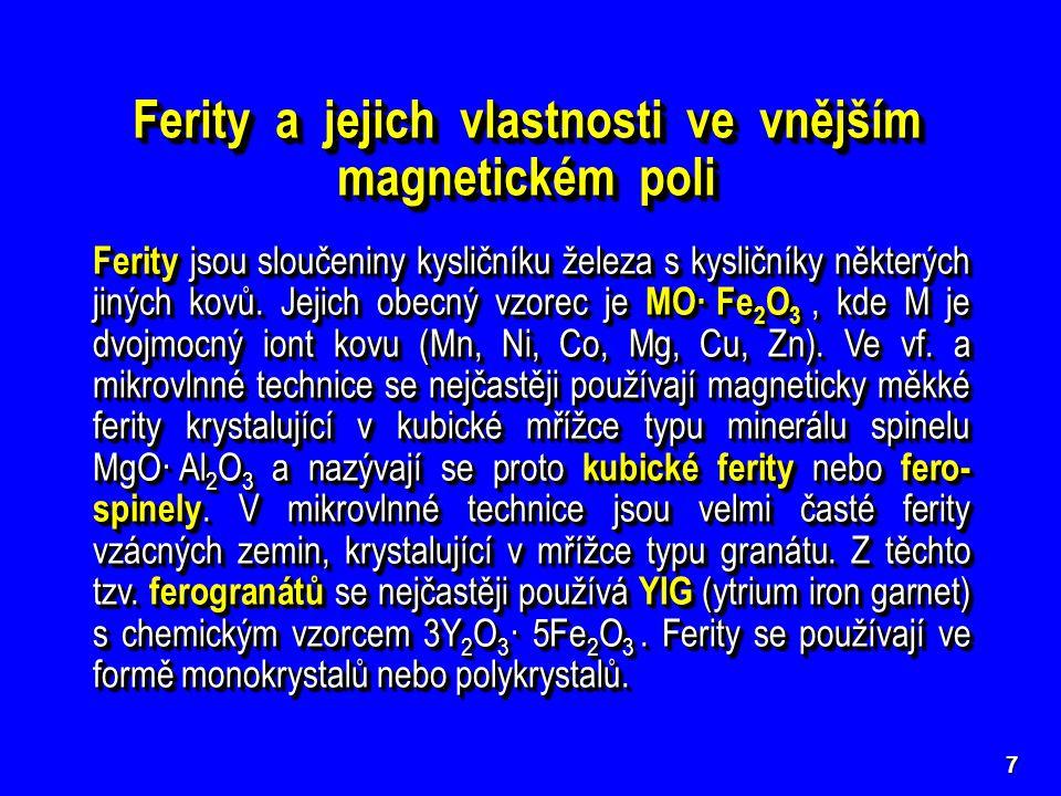 7 Ferity a jejich vlastnosti ve vnějším magnetickém poli Ferity jsou sloučeniny kysličníku železa s kysličníky některých jiných kovů. Jejich obecný vz