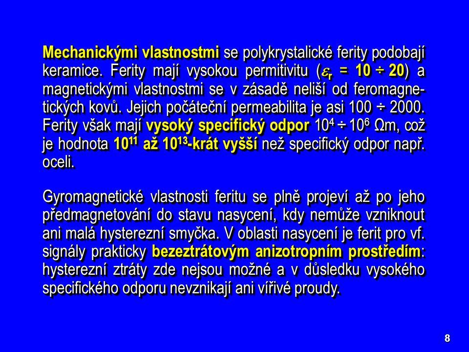 ++++ ++++ –––– ++++ ––––  0000 19 Kmitočtová závislost efek- tivní permeability feritu pro pravotočivou vlnu a pro levotočivou vlnu Při  =  0 dochází pro pravotočivou vlnu k fero- magnetické rezonanci, tj.