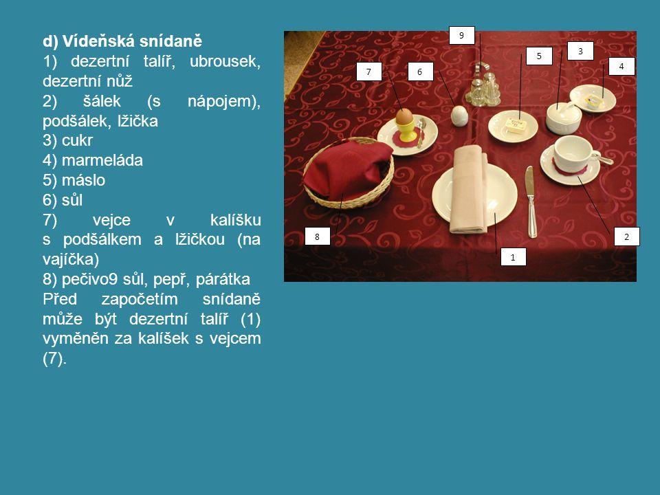 d) Vídeňská snídaně 1) dezertní talíř, ubrousek, dezertní nůž 2) šálek (s nápojem), podšálek, lžička 3) cukr 4) marmeláda 5) máslo 6) sůl 7) vejce v k