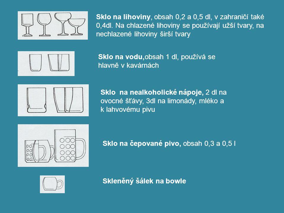 Sklo na lihoviny, obsah 0,2 a 0,5 dl, v zahraničí také 0,4dl. Na chlazené lihoviny se používají užší tvary, na nechlazené lihoviny širší tvary Sklo na