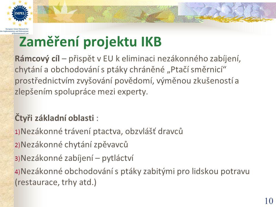 """10 Zaměření projektu IKB Rámcový cíl – přispět v EU k eliminaci nezákonného zabíjení, chytání a obchodování s ptáky chráněné """"Ptačí směrnicí"""" prostřed"""