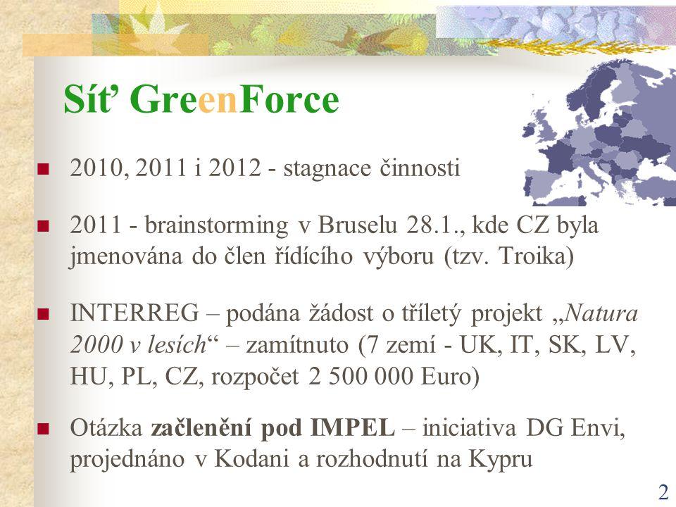 2 Síť GreenForce 2010, 2011 i 2012 - stagnace činnosti 2011 - brainstorming v Bruselu 28.1., kde CZ byla jmenována do člen řídícího výboru (tzv.