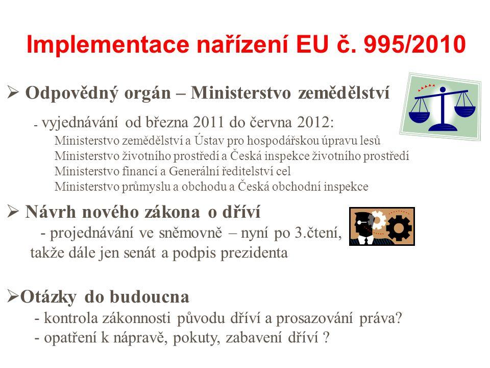  Odpovědný orgán – Ministerstvo zemědělství - vyjednávání od března 2011 do června 2012: Ministerstvo zemědělství a Ústav pro hospodářskou úpravu lesů Ministerstvo životního prostředí a Česká inspekce životního prostředí Ministerstvo financí a Generální ředitelství cel Ministerstvo průmyslu a obchodu a Česká obchodní inspekce  Návrh nového zákona o dříví - projednávání ve sněmovně – nyní po 3.čtení, takže dále jen senát a podpis prezidenta  Otázky do budoucna - kontrola zákonnosti původu dříví a prosazování práva.