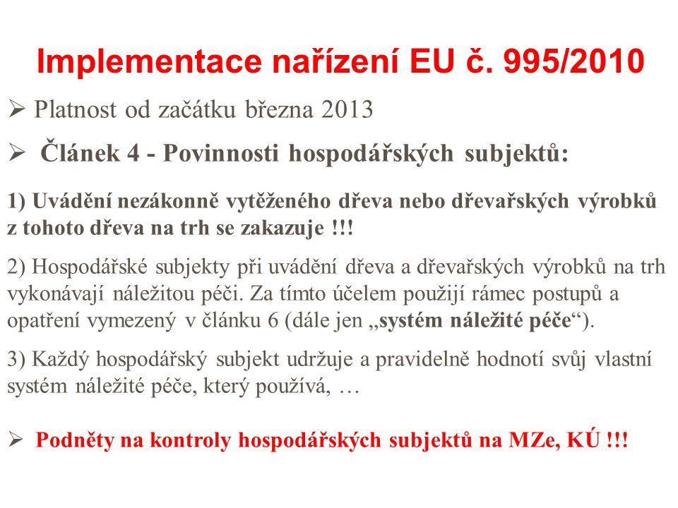  Platnost od začátku března 2013  Článek 4 - Povinnosti hospodářských subjektů: 1) Uvádění nezákonně vytěženého dřeva nebo dřevařských výrobků z tohoto dřeva na trh se zakazuje !!.