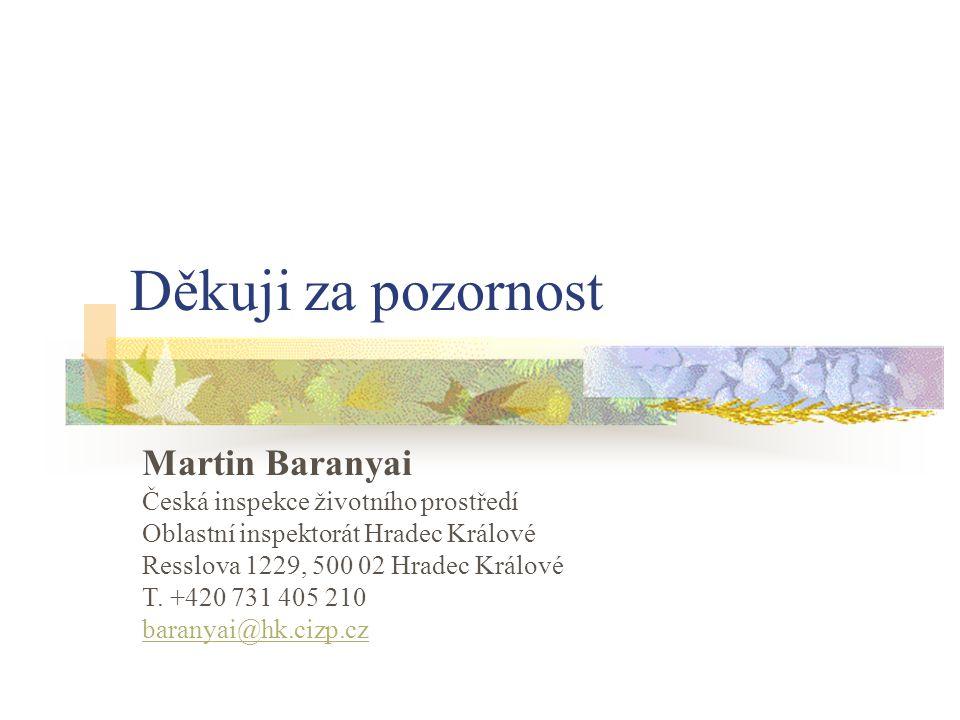 Děkuji za pozornost Martin Baranyai Česká inspekce životního prostředí Oblastní inspektorát Hradec Králové Resslova 1229, 500 02 Hradec Králové T. +42