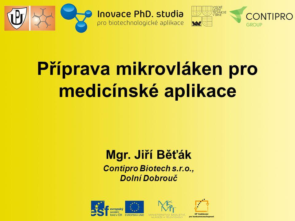 Příprava mikrovláken pro medicínské aplikace Mgr. Jiří Běťák Contipro Biotech s.r.o., Dolní Dobrouč