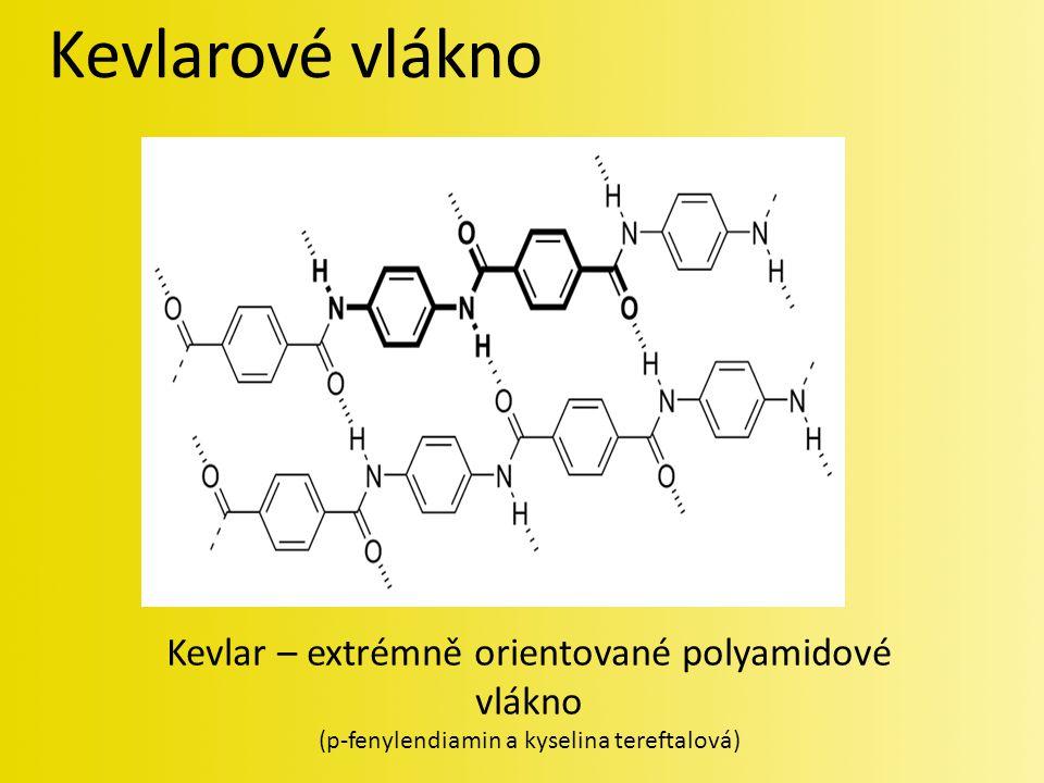 Kevlarové vlákno Kevlar – extrémně orientované polyamidové vlákno (p-fenylendiamin a kyselina tereftalová)