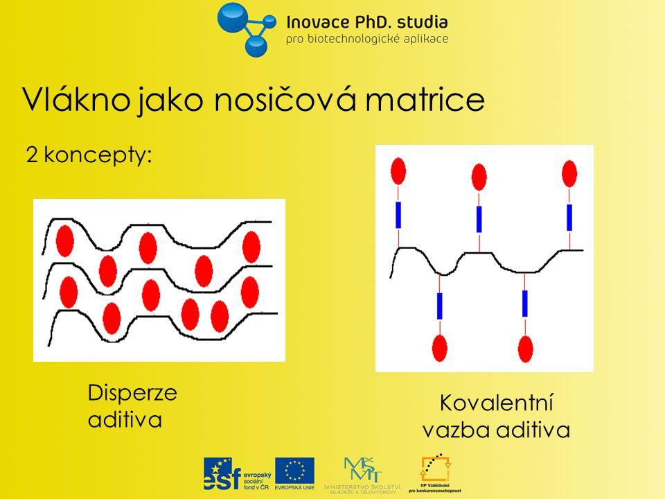 Vlákno jako nosičová matrice Disperze aditiva Kovalentní vazba aditiva 2 koncepty: