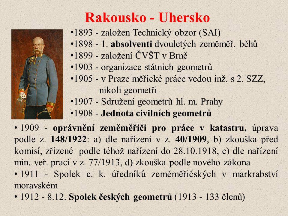 1893 - založen Technický obzor (SAI) 1898 - 1.absolventi dvouletých zeměměř.