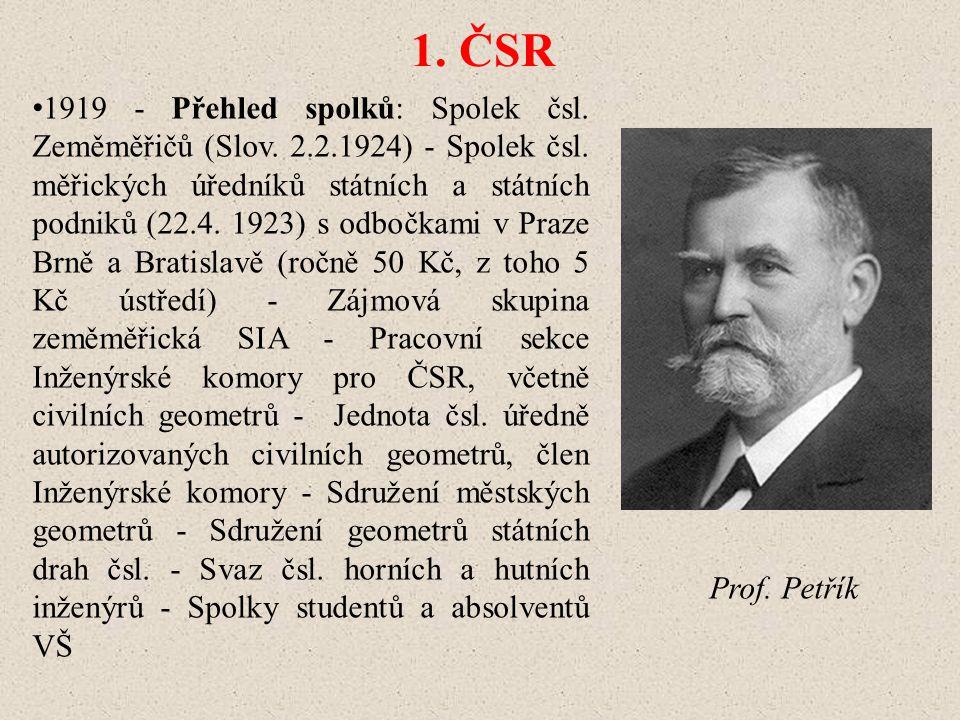 1.ČSR 1919 - Přehled spolků: Spolek čsl. Zeměměřičů (Slov.