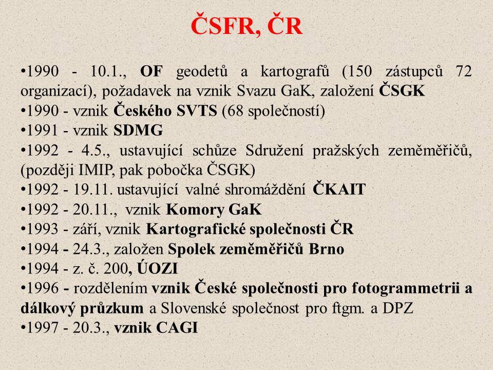 ČSFR, ČR 1990 - 10.1., OF geodetů a kartografů (150 zástupců 72 organizací), požadavek na vznik Svazu GaK, založení ČSGK 1990 - vznik Českého SVTS (68 společností) 1991 - vznik SDMG 1992 - 4.5., ustavující schůze Sdružení pražských zeměměřičů, (později IMIP, pak pobočka ČSGK) 1992 - 19.11.