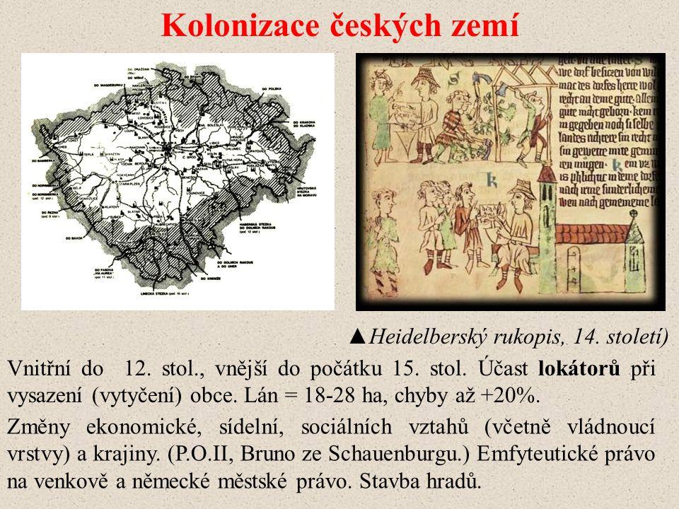 Kolonizace českých zemí Vnitřní do 12.stol., vnější do počátku 15.