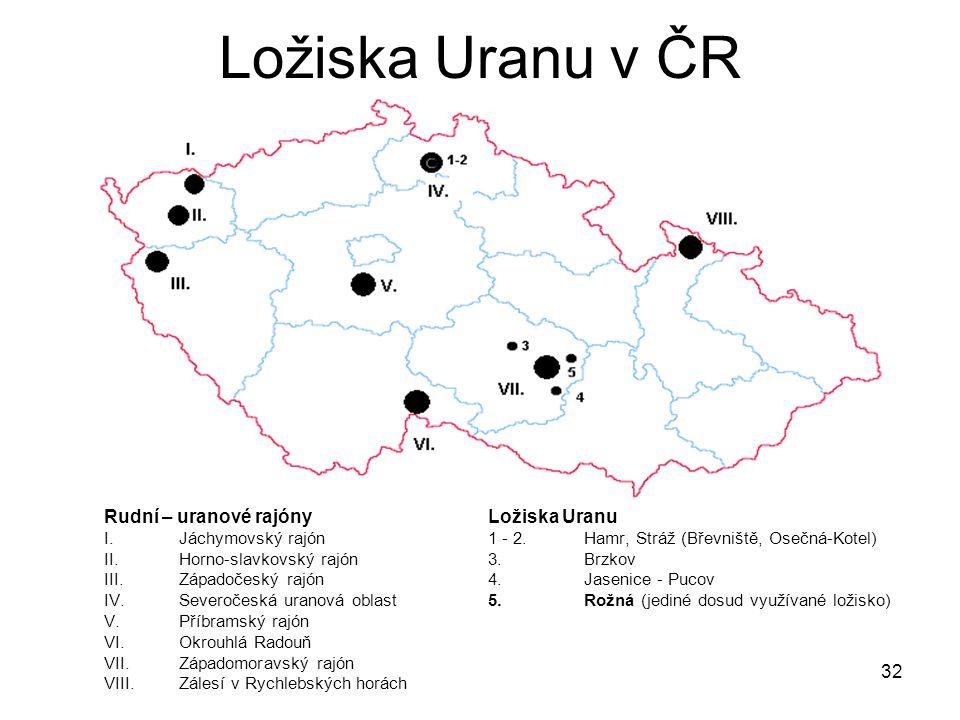 32 Ložiska Uranu v ČR Rudní – uranové rajónyLožiska Uranu I. Jáchymovský rajón1 - 2. Hamr, Stráž (Břevniště, Osečná-Kotel) II.Horno-slavkovský rajón3.