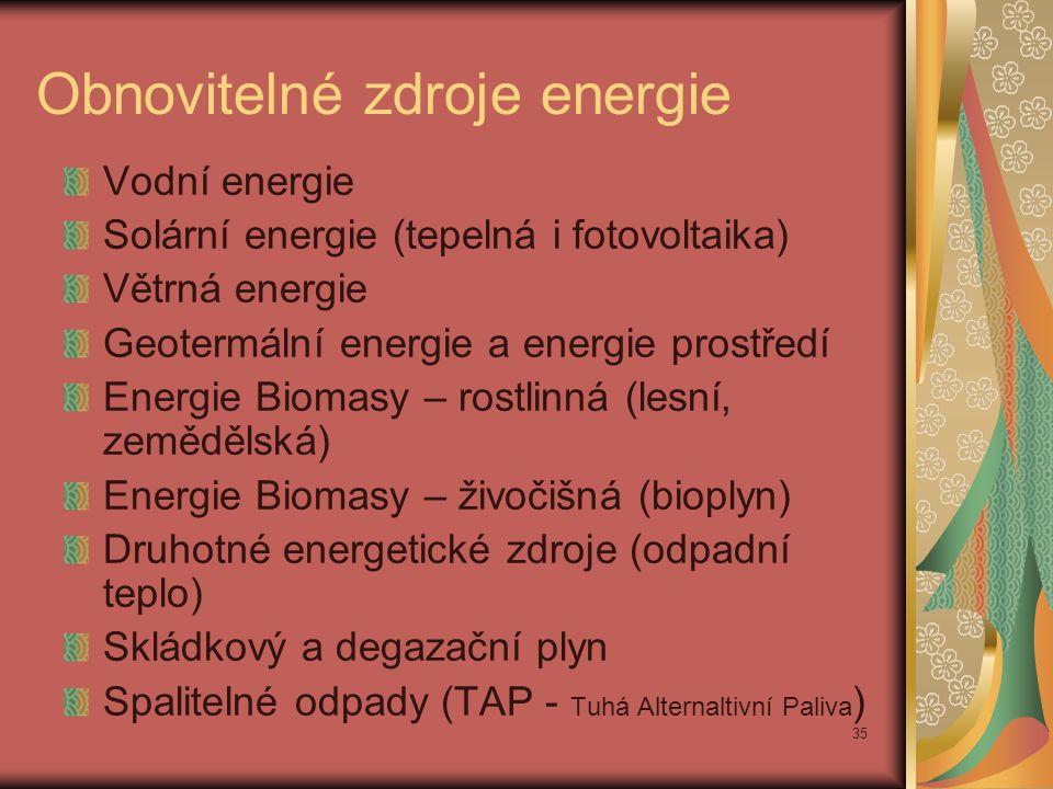 35 Obnovitelné zdroje energie Vodní energie Solární energie (tepelná i fotovoltaika) Větrná energie Geotermální energie a energie prostředí Energie Bi