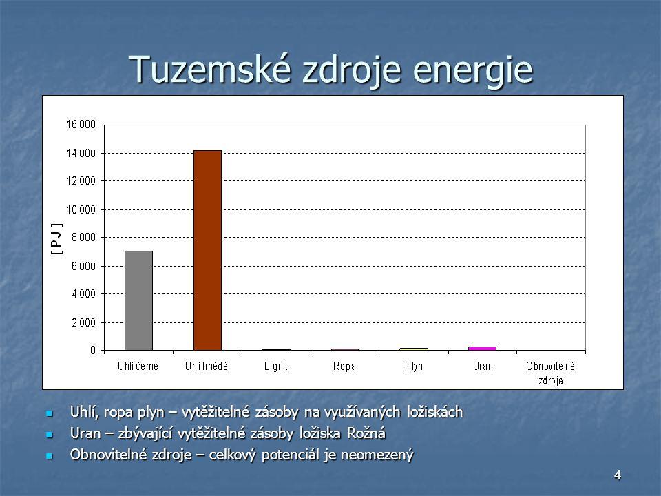 4 Tuzemské zdroje energie Uhlí, ropa plyn – vytěžitelné zásoby na využívaných ložiskách Uhlí, ropa plyn – vytěžitelné zásoby na využívaných ložiskách
