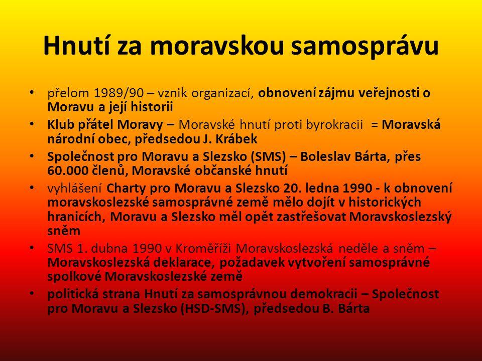 Hnutí za moravskou samosprávu přelom 1989/90 – vznik organizací, obnovení zájmu veřejnosti o Moravu a její historii Klub přátel Moravy – Moravské hnut