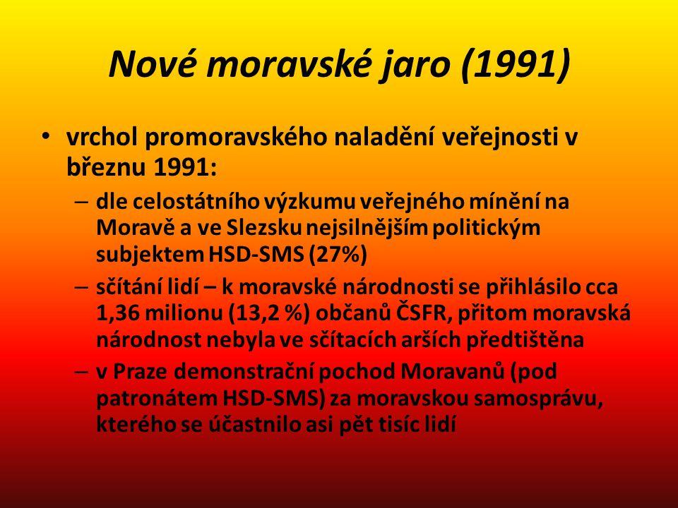 Nové moravské jaro (1991) vrchol promoravského naladění veřejnosti v březnu 1991: – dle celostátního výzkumu veřejného mínění na Moravě a ve Slezsku n