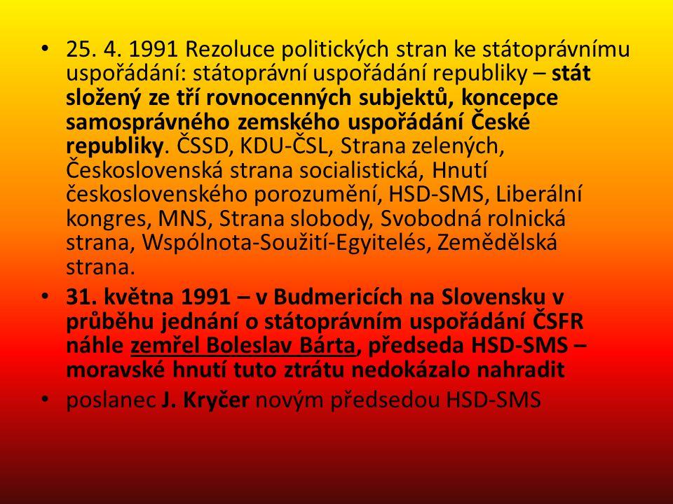 Zánik federace duben 1992 – poslanecký klub HSD-SMS v České národní radě podal již čtvrtý návrh na zemské uspořádání spolkového typu v ČR (podle vzoru Německa a Rakouska), uspořádání mělo respektovat historické země, především samosprávu Moravy a Slezska; text návrhu i návrh zákona poslaneckého klubu KDU-ČSL odmítnuty červen 1992 – moravské politické strany se nedostaly do Federálního shromáždění, zastoupení mělo HSD-SMS jen v ČNR (5,9 %); poslední pokusy o prosazení moravské samosprávy v době ČSFR symbolické Moravský národní kongres; opozičními poslanci ustaven tzv.