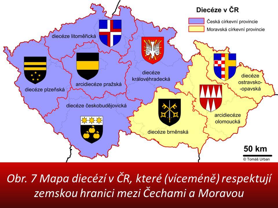 Obr. 7 Mapa diecézí v ČR, které (víceméně) respektují zemskou hranici mezi Čechami a Moravou