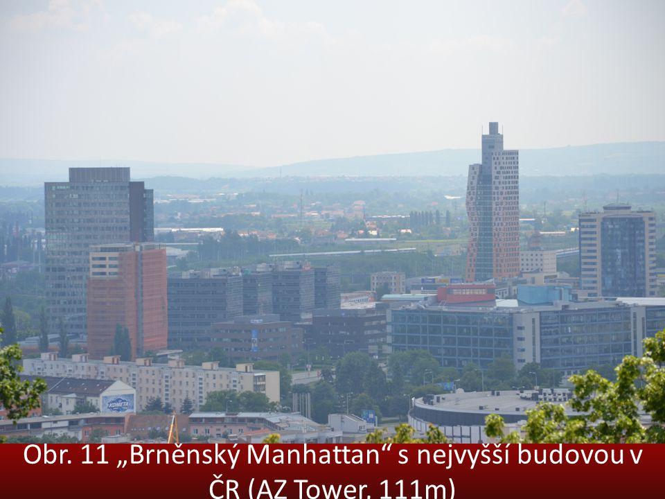 """Obr. 11 """"Brněnský Manhattan"""" s nejvyšší budovou v ČR (AZ Tower, 111m)"""