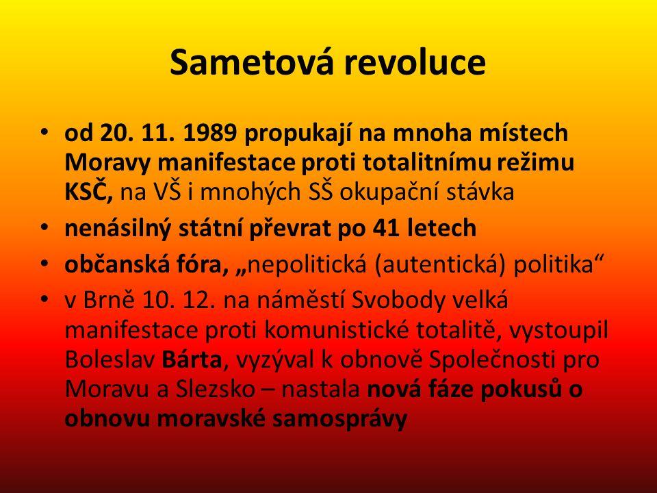 Sametová revoluce od 20. 11. 1989 propukají na mnoha místech Moravy manifestace proti totalitnímu režimu KSČ, na VŠ i mnohých SŠ okupační stávka nenás