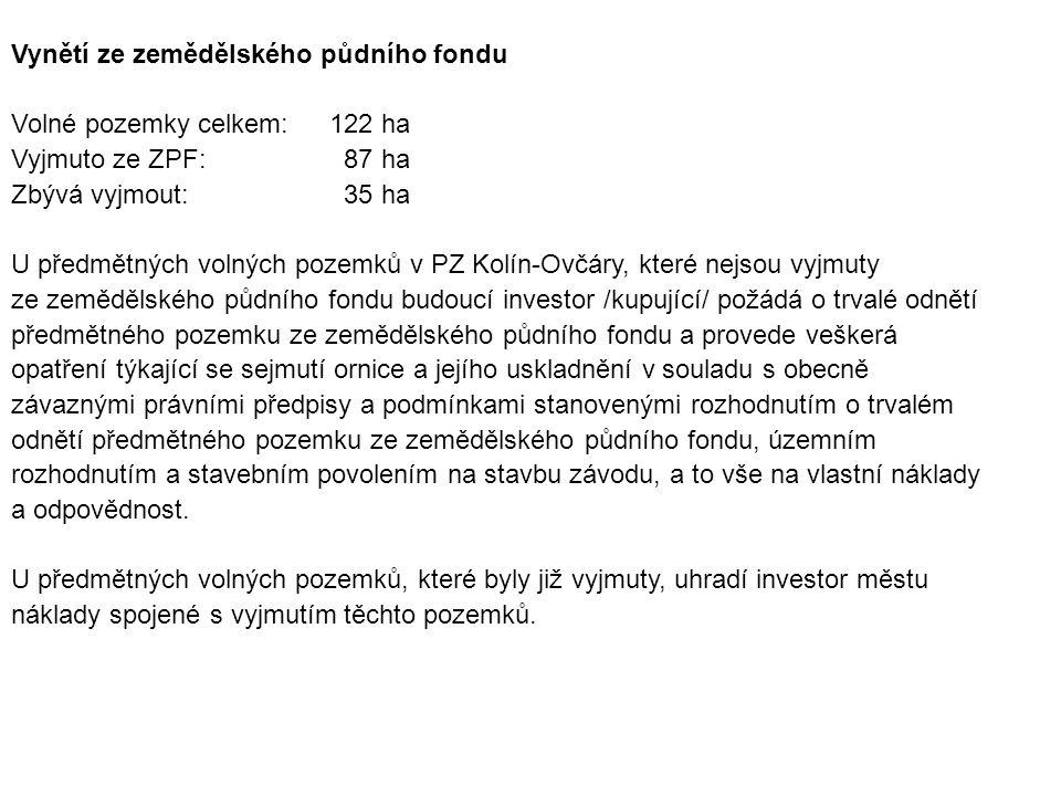 Vynětí ze zemědělského půdního fondu Volné pozemky celkem:122 ha Vyjmuto ze ZPF: 87 ha Zbývá vyjmout: 35 ha U předmětných volných pozemků v PZ Kolín-O
