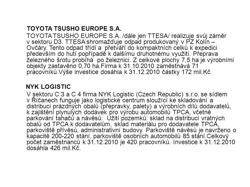 TOYOTA TSUSHO EUROPE S.A. TOYOTA TSUSHO EUROPE S.A. /dále jen TTESA/ realizuje svůj záměr v sektoru D3. TTESA shromažďuje odpad produkovaný v PZ Kolín