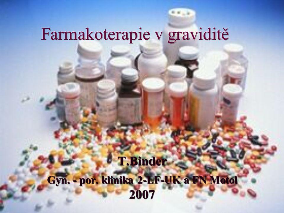 Přehled léků doporučených v léčbě v průběhu gravidity i) antikoagulancia – heparin, nízkomolekulární hepariny (LMWH), vyloučit kumarinové deriváty z léčby ve všech stádiích těhotenství j) astma – inhalace - beta –2- mimetika, glukokortikoidy (budesonid), chromoglykanová kyselina, lék druhé volby – teofyllin k) antitussika/ expectorancia – první volba – dextromethorphan, ambroxol, druhá volba – kodein, acetylcystein