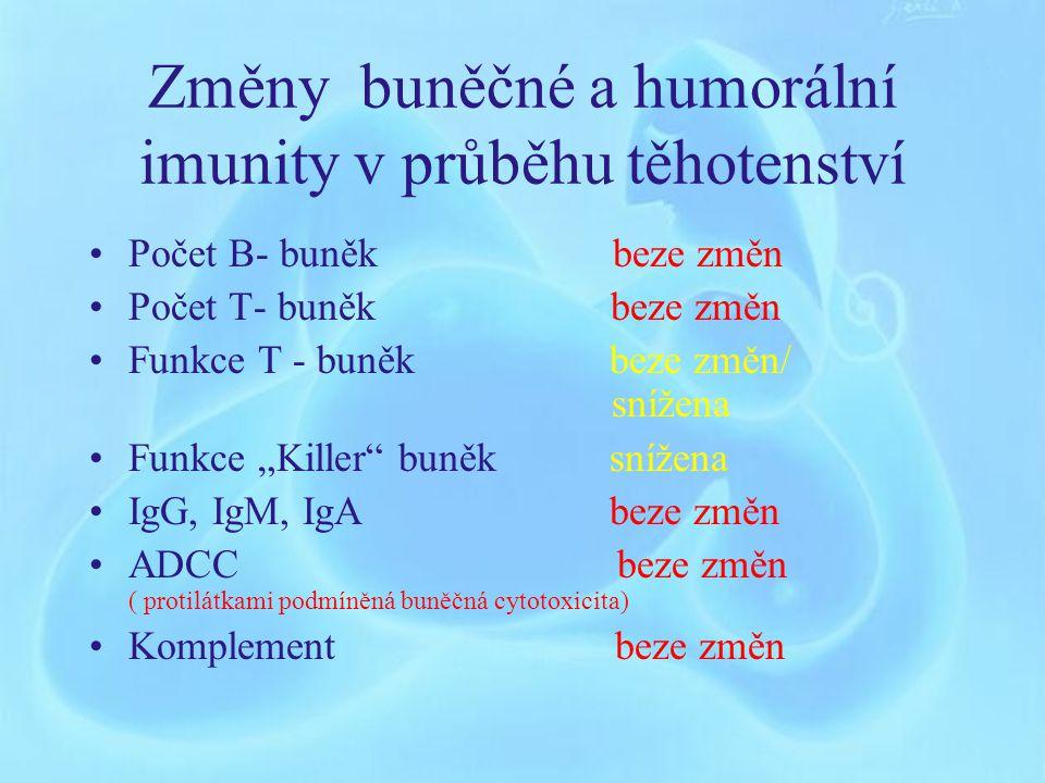 Imunitní systém v graviditě Mýtus o větší vnímavosti těhotné k infekci Systémová imunitní odpověď není ovlivněna Mírně potlačena buněčná imunitní odpověď Lokální imunitní odpověď v děloze může být alterována (Dudley 1990, Redline 1990) Obecně zvýšené riziko u oslabených jedinců (rychle po sobě jdoucí těhotenství, anémií, chronická onemocnění, imunosupresivní stavy) Vliv placentárních hormonů, hlavně progesteronu