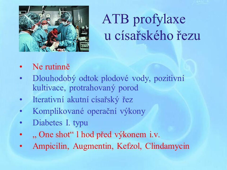 ATB profylaxe Kardiopatie ( např.umělá chlopeň, stavy po chir.korekci VVV, postreumatické vady) Porod mrtvého plodu Indukovaný potrat v II.