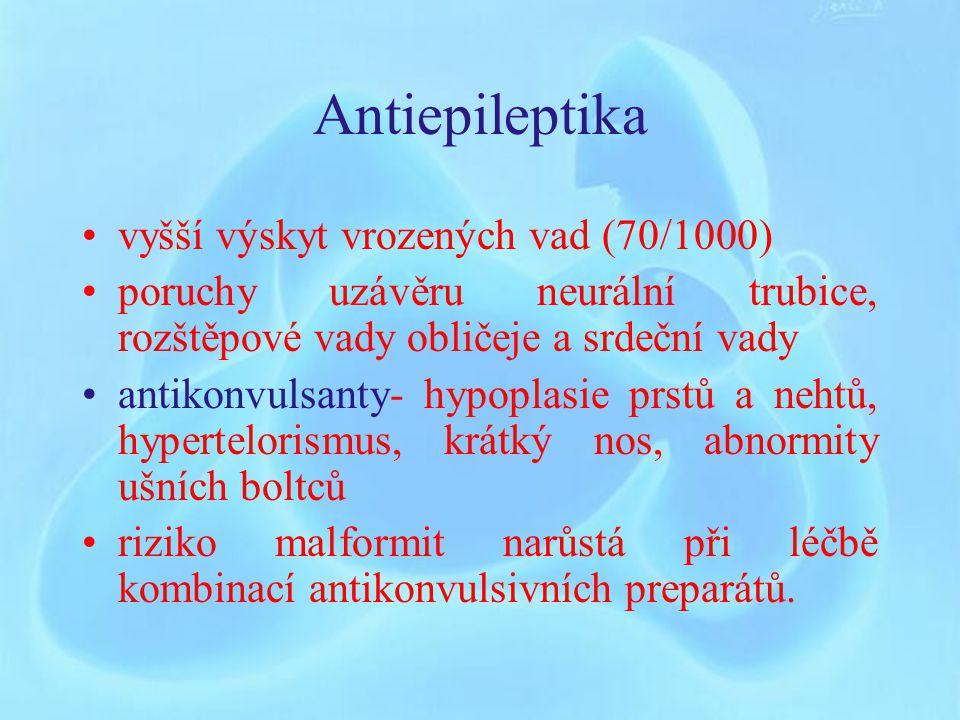 Indometacin a ostatní NSA Velmi dobře těhotnými snášena Indometacin – v mnoha zemích tokolytikum ( oligohydramnion, konstrikce ductus venosus, NEC) Ibuprofen- možno podávat – omezení a opatrnost stejná jako u ASA