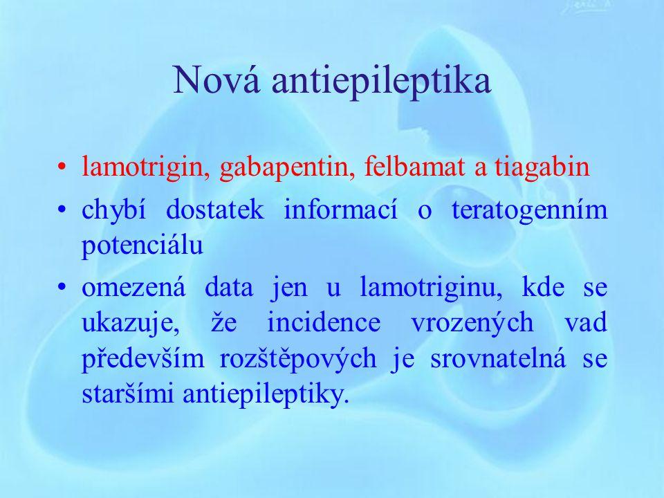 Další antiepileptika Karbamazepin Typy malformací jsou prakticky totožné jako u valproátových a hydatoinových preparátů Incidence je o něco nižší Barbituráty vyšší riziko výskytu rozštěpových vad