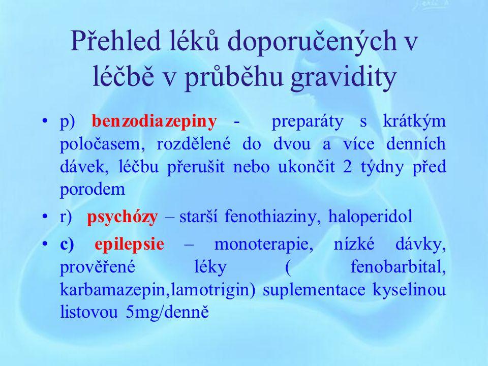 Přehled léků doporučených v léčbě v průběhu gravidity l) antidepresiva - tricyklická (amitriptylin), selektivní inhibitory reabsorpce serotoninu – SSRI ( fluoxetin, citalopram, paroxetin) m) kortikoterapie - prednison – krátkodobě do 1000 mg/denně, dlouhodobě 0,3-0,5mg/kg/den n) zánětlivá onemocnění střev – mesalazin ( poslední trimestr do 2 g/d), prednison o) gastroesofageální reflux – první volba – antacida ( magaldrat, hydrolacit) druhá volba – antagonisté histamin H2 receptorů (ranitidin), inhibitory protonové pumpy ( omeprazol)