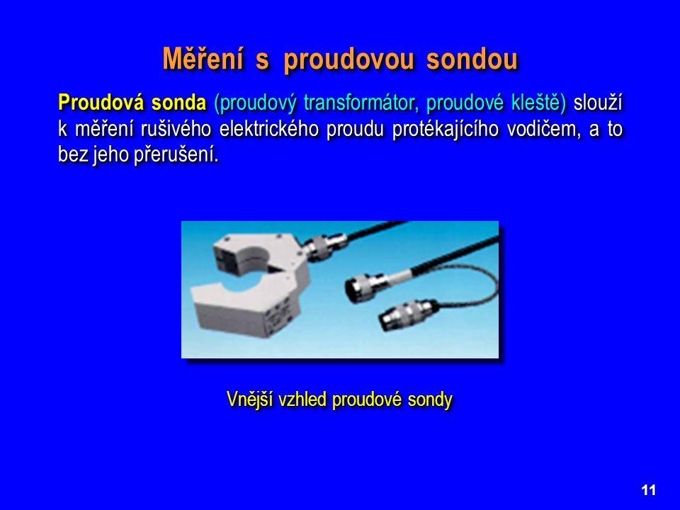 11 Měření rušivého proudu proudovou sondou ( ZO – zkoušený objekt; MR – měřič rušení; PS – proudová sonda) Měření rušivého proudu proudovou sondou ( ZO – zkoušený objekt; MR – měřič rušení; PS – proudová sonda) Měření s proudovou sondou Konstrukce proudové sondy (otevřený stínicí kryt) Konstrukce proudové sondy (otevřený stínicí kryt) Proudová sonda (proudový transformátor, proudové kleště) slouží k měření rušivého elektrického proudu protékajícího vodičem, a to bez jeho přerušení.