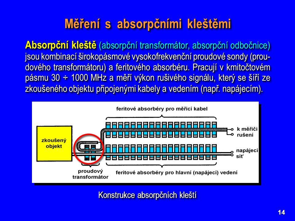 14 Konstrukce absorpčních kleští Měření s absorpčními kleštěmi Absorpční kleště (absorpční transformátor, absorpční odbočnice) jsou kombinací širokopásmové vysokofrekvenční proudové sondy (prou- dového transformátoru) a feritového absorbéru.
