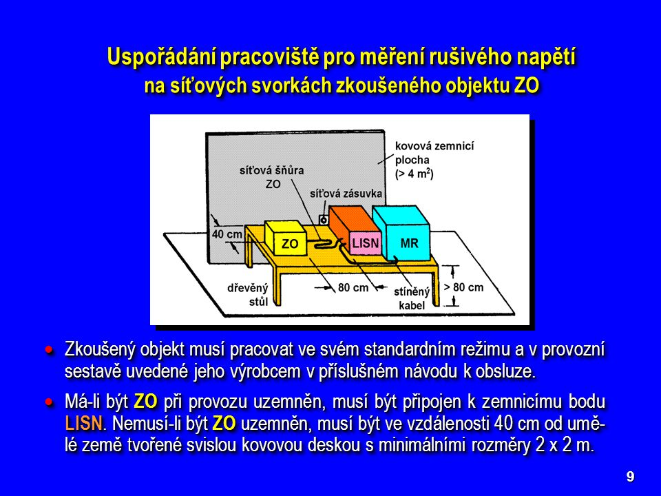 9 Uspořádání pracoviště pro měření rušivého napětí na síťových svorkách zkoušeného objektu ZO Uspořádání pracoviště pro měření rušivého napětí na síťových svorkách zkoušeného objektu ZO  Zkoušený objekt ZO s umělou sítí LISN a měřičem rušení MR je umístěn na dřevěném stole tak, aby jeho vzdálenost od LISN byla 80 cm.