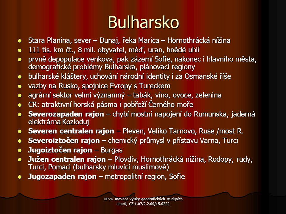 Bulharsko Stara Planina, sever – Dunaj, řeka Marica – Hornothrácká nížina Stara Planina, sever – Dunaj, řeka Marica – Hornothrácká nížina 111 tis. km