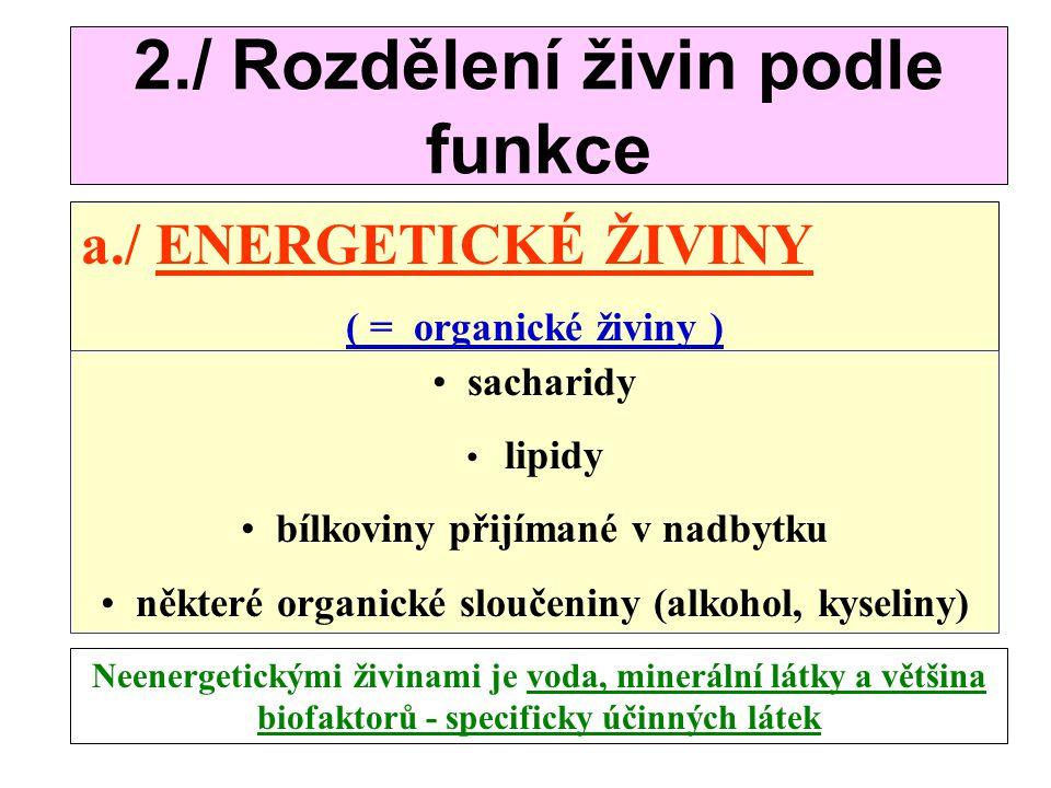 Rozdělení živin : 1./ Podle významnosti : a./ ŽIVINY NEPOSTRADATELNÉ - ESENCIÁLNÍ b./ ŽIVINY POSTRADATELNÉ - NEESENCIÁLNÍ