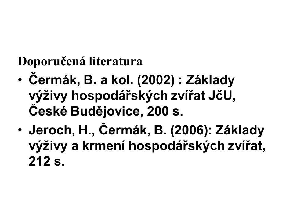 Doporučená literatura Čermák, B.a kol.