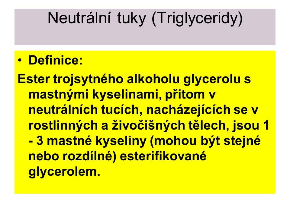 Rozdělení lipidů Neutrální tuky (triglyceridy) Vosky Fosfolipidy Glykolipidy Steroidy Karotenoidy